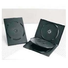 DVD Box 14mm, per 4 DVD, con tray basculante, Nero